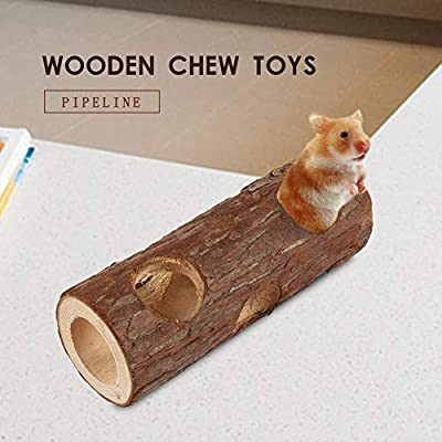 kingpo Wooden Pipe Chew Toys For Pet Hamster Gerbils Tunnel 15 Cm Fit For Small Rodents Like Dwarf Hamsters Use These To Tunnel In And Out And Hide Food by kingpo