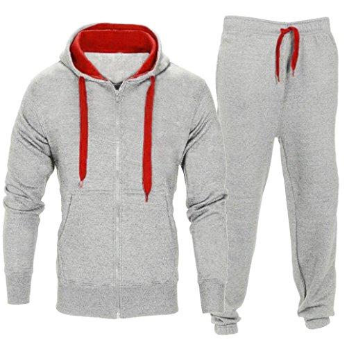 ASHOP Herren Casual Sportanzug Jogginganzug Sweatshirt+Sporthose+Einfarbig Kapuzenpullover mit Kapuzen Trainingsanzug Kapuzenjacke (Hellgrau, M)