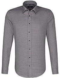 SEIDENSTICKER Herren Hemd Tailored Langarm Bügelfrei Karo Businesshemd Button-Down-Kragen Kombimanschette weitenverstellbar
