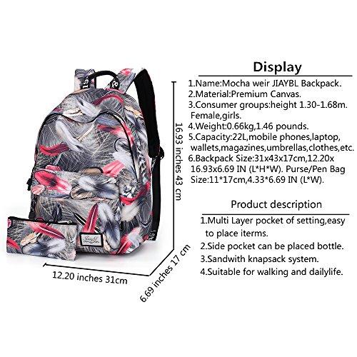 Mocha weir JIAYBL Laptop Taschen Schultern Kinder Schultaschen Rucksack Hochschule Mädchen Canvas Pack reisen (Rot Gefieder) Rot Gefieder