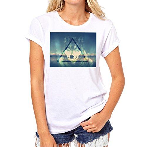 Illuminati Triangle Art Majestic Wolf Mystic Background Damen T-Shirt Weiß