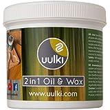 Uulki® Entretien Naturel du Bois – Huile & Cire 2 en 1 pour tous les Planches à Découper et les Accessoires de Cuisine en Bois et en Bambou – Produit à Base de Plantes / Vegan (250 ml)