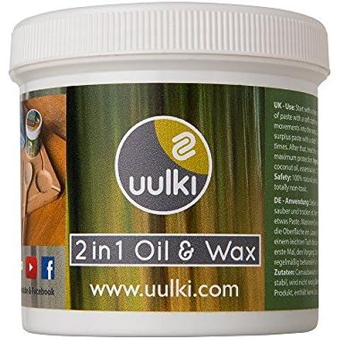 Uulki® Natural Woodcare–2en 1aceite y cera para tablas de cortar y utensilios de cocina de madera o bambú–Vegetales/Vegan