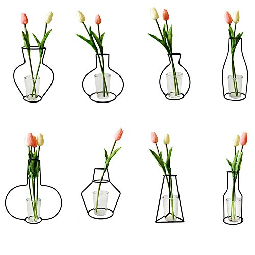Ciojio Metall DIY Vase Rahmen Eisen Blume Vase Ständer Halter Pflanze Halter Geometrische Behälter für Home Tisch Deko (gemischte Größen)