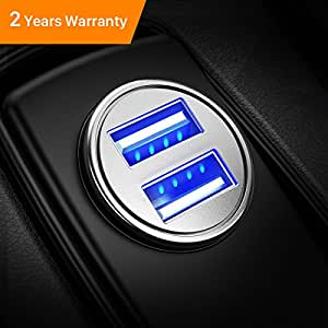 Caricabatteria auto USB, 4.8A Caricatore adattatore universale Caricabatterie da auto 2 Porte Super Mini Alluminio macchina per Phone X / 8/7 / 6s / Plus, Galaxy S8/S7/ Edge, Huawei P9/P10 (Argento)