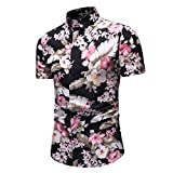 AIni T-Shirt Herren,2019 Mode Neue Sale Beiläufige Sommer Hawaiisch Gedruckt Kurzarm Hemd Tops Oben (XXXL,Rosa)