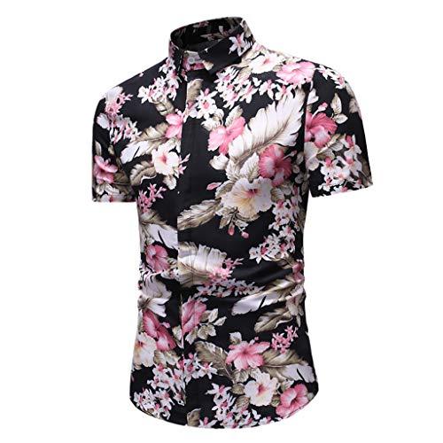 Tohole Herren-Hemd Slim-Fit Kurzarm-Hemden Herren Hemd Kurzarm Slim Fit für Anzug Hemden Shirts für Männer Kurzärmliges Hemd mit Hawaii-Print für Herren(Rosa,M)