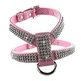 eizur Hund Pet verstellbares Hundegeschirr Brustgurt Gürtel mit Diamanten Easy Fit strapazierfähiges PU & Bling Strass XS/S/M/L 4; Haltbares Gummi schwarz/blau/rot/pink