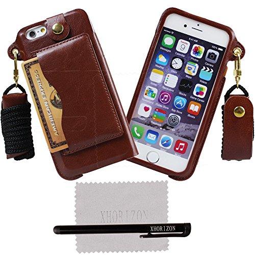 xhorizon® Bändsel PU LederTasche Kartenhalter Stand Case Hülle für 4.7 Inch iPhone 6 Braun
