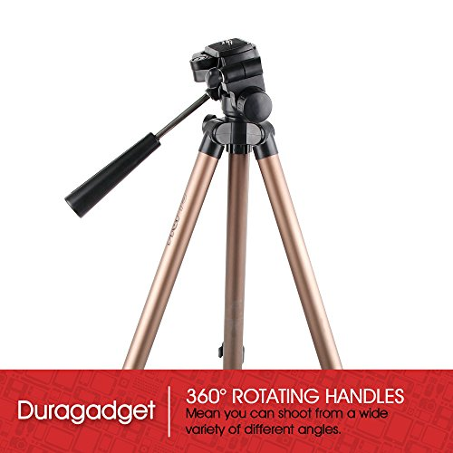 DURAGADGET Camera Tripod with Extendable Legs and Ball-Tilt Head in Black   Gold for the Ezapor HD Projector 800   2000   2600   3000 Lumen