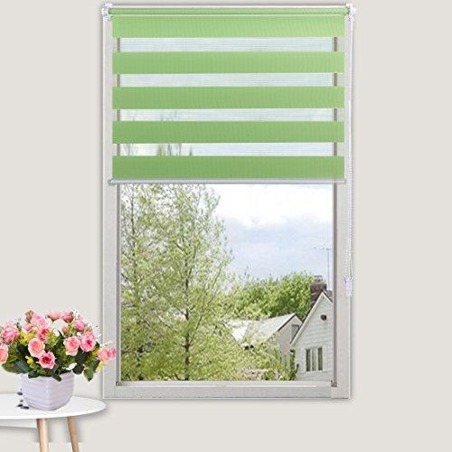 OBdeco Doppelrollo Klemmfix 100x150cm Grün Duo Rollo ohne Bohren mit Klemmträgern Fensterrollo - 4
