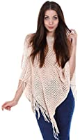 Simplicity Women's Long Knitted Pullover Tassel Edge Poncho Sweater