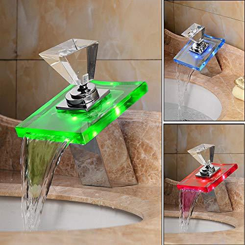 YIYIBY LED Wasserhahn bad Waschbecken mit RGB 3 Farbewechsel Beleuchtung waschtischarmatur für Badezimmer (Led Waschbecken Wasserhahn)