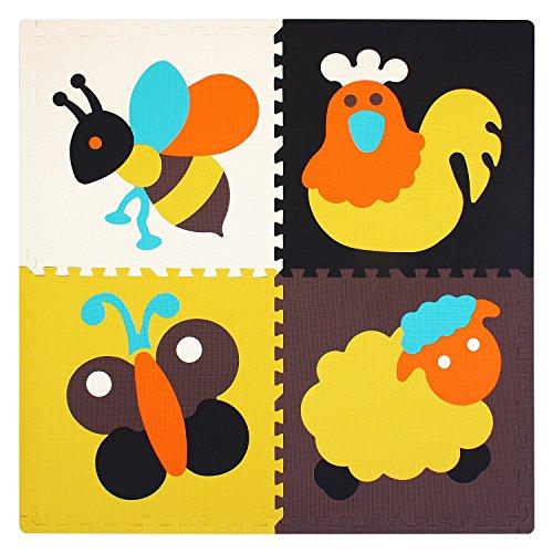 Meiqicool tappeto gioco puzzle tappeto puzzle bambini mattonelle puzzle tappetino puzzle 4 grande pcs (123 x 123 x 2cm) 045