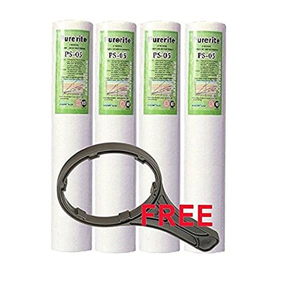 Latexo? Kemflo 4Pcs Spun Filter with Free Spanner Key Suitable for All Kinds of RO