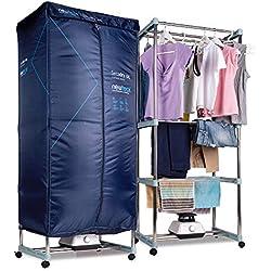 NEWTECK Sèche-linge électrique portable XXL Sèche-linge par ventilation, 1200 W, grande capacité 15 kg, minuterie 180 min, 3 niveaux, silencieux, multifonction : sèche-linge, armoire, séchoir