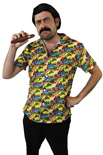 Kolumbien Kostüm - ILOVEFANCYDRESS Pablo Escobar KOSTÜM VERKLEIDUNG GANOVEN Drogen Lord=Fasching Karneval Halloween Party= 3 VERSCHIEDENEN VARIATIONEN=Schnurrbart+ZIGARRE+PERÜCKE-Hemd/GRÖßE-XLarge