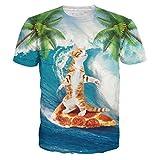 HWHColor Mens 3D Lustige Katze Surfen auf Pizza-Grafik-T Hemd mit kurzen Ärmeln