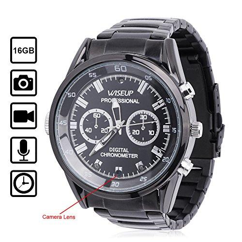 WISEUP 16GB 1920x1080P HD Mini Spion Kamera Uhr Tragbarer Überwachungskamera Armbanduhr mit Speicher und Aufzeichnung Armbanduhr Video