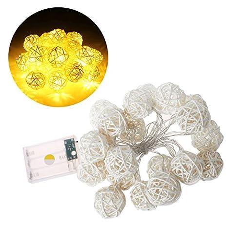 Haorw 20 LED 2.2m Rattan Ball Fairy String Light Lamp w/Battery Box Wedding Xmas Party Decor