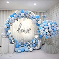 ATFUNSHOP Balloon Arch Kit 120PCS 5M Latex Balloon Garland Kit with Blue White Silver Balloons Confetti Balloons and Metallic Balloons for Birthday Parties Baby Shower Birthday