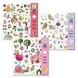 Djeco Sticker-Set / 3-teiliges Set / Teeparty - Flügel - Prinzessin / Geschenk für Mädchen / Kinder Mitbringsel / Aufkleber für Kinder / Motiv-Sticker