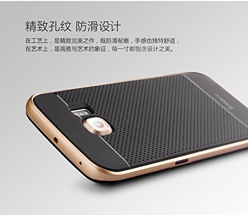 Badhiyadeal iPaky Brand Luxury High Quality Ultra-Thin Dotted Silicon Black Back + PC Gold Frame Bumper Back Case Cover For Samsung S6 Edge