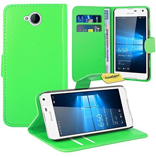 Preisvergleich Produktbild Microsoft Lumia 650 Handy Tasche, FoneExpert® Wallet Case Flip Cover Hüllen Etui Ledertasche Lederhülle Premium Schutzhülle für Microsoft Lumia 650 (Grün)