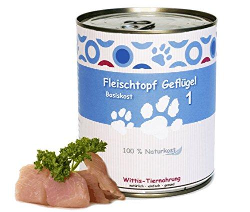 6 x 800 g - Wittis Fleischdosen für Hunde - garantiert OHNE künstliche Vitamine!!- Fleisch pur - Geflügel - pur - Barf in Dosen - Dosenfutter ohne Zusätze
