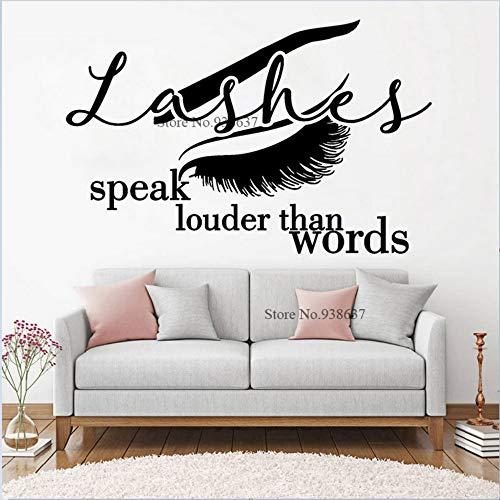 Wimpern sprechen Louder Than Words Beauty Salon Design Zitat Aufkleber Make Up Grooming Cosmetic Case Decor Wandaufkleber 64x42cm -
