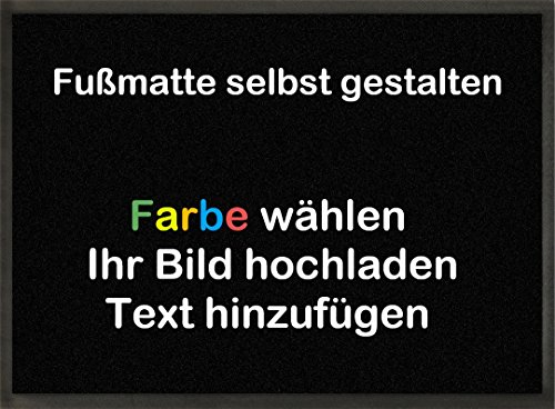 mymat Fußmatte Zum Selbst Gestalten | Farbe Wählen | Bild Einfügen | Text Hinzufügen (Grau,...