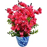 #3: Thefancymart artificial Blossom Flower plant Glowing Rani color (12 inchs/ 30 cms) arrangement in Marble Finish Pot