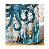AieniD Badezimmer Deko Lila Meerestiere Mehrfarbig Bad Vorhang Size:150X180CM