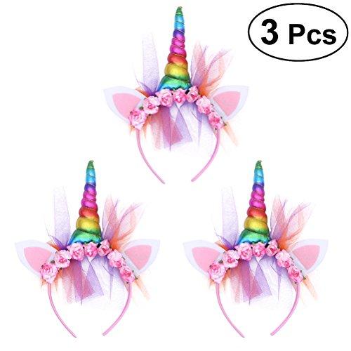 (Frcolor Einhorn Stirnbänder, Horn Ohren Blumen Krone Haarbänder Haarbänder Geburtstag Party Favors Kleid Cosplay, 3 Stücke (Regenbogen))