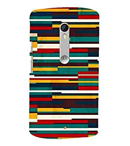 Fiobs Designer Back Case Cover for Motorola Moto X Play (Lines Shaky Carpet Chatai Colorful)