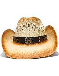 Shuo lan hu wai New Cappello da Cowboy di Paglia da Donna con Cinturino in  Pelle Moda per Cappelli Cowgirl Western di… e2d002f9e0da