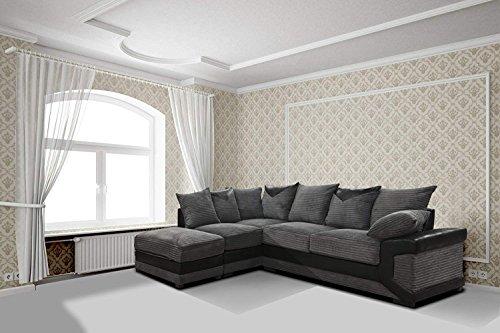 Dino jumbo cord & ecopelle divano angolare lh suite in grigio/nero