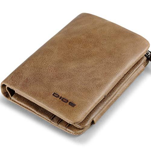 DIDE Portafoglio Uomo Vera Pelle, Trifold Slim Portafogli con tasca con cerniera, Portafoglio con confezione regalo (Cachi)