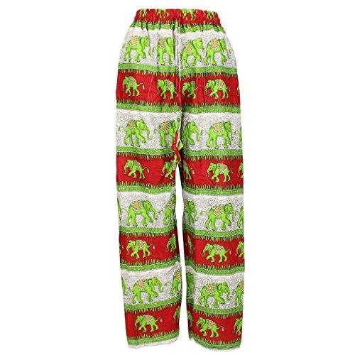 LOUDelephant -  Pantaloni  - Donna Red & Green