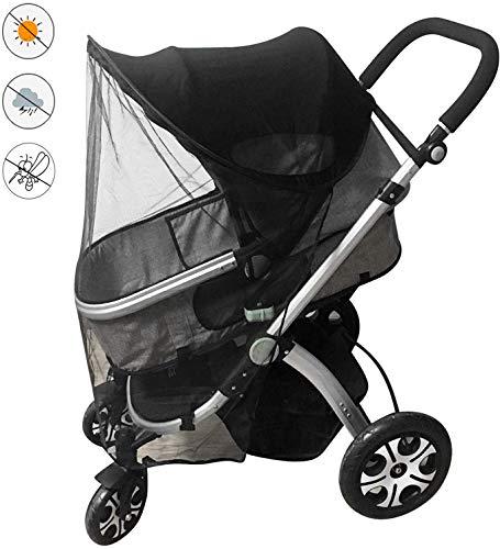 Parasole universale per passeggino, carrozzina, passeggino, parapioggia con tettuccio, parapioggia per passeggino, impermeabile, antivento, zanzariera