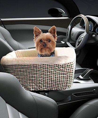 Meago Pet Konsole Booster, hkim Autositz Lookout Carrier mit Kaschmir Creme Fell Sicherheitsgurt für Kleine Haustiere und Katzen, Medium, Plaid