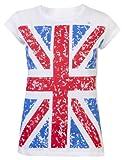 Camiseta para mujer, Top de damas, camisas GB, camisetas de la realeza, bandera de Londres de recuerdo. blanco blanco 44