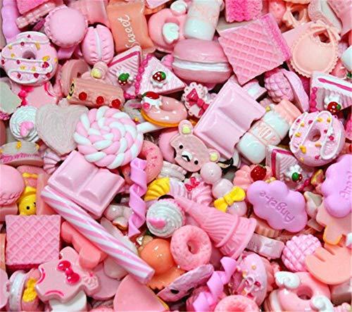 Sortiert 30 Stück Cute Candy Perlen Fruit Dessert EIS Kunstharz Charms Scheiben Flache Tasten für Handwerk Zubehör Scrapbooking Telefon Fall Decor, Babyrosa, - Süße Candy Bar Kostüm