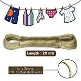 TiedRibbons® 20 Meter Clothes Line Strong Pvc Coated Clothesline Steel Anti-Rust Metal Wire Rope For Cloth Drying