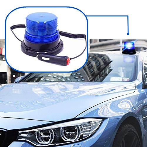 Preisvergleich Produktbild Mioke Warnleuchten LED Warnlicht Rundumleuchte Magnetmontage Zigarettenanzünder,  für 12V und 24V, Blinkleuchte für Straßenverkehr Blau