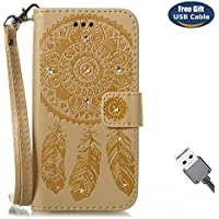 Aireratze Galaxy Note 8 case,Galaxy Note 8 cover, [Wallet Case] Premium Soft PU Leather Notebook [Glitter Bling Diamond Mandala Flower] Case Slim Flip Skin Cover for Samsung Note 8(Golden)+USB cable