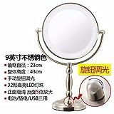 STAZSX ConduitLes miroirs de toilette miroir Lumière de bureau grand continental deux faces miroir de maquillage miroir Princesse mariage avec la lumière,9Couleur Acier inoxydable 81 cm--5Le grossissement