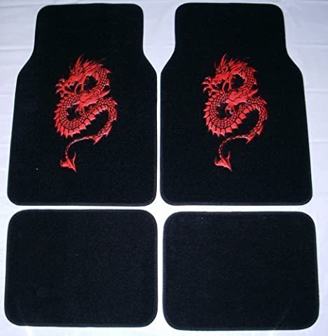 - Dragon Red Front & Rear Carpet Car Truck SUV Floor Mats by BDK