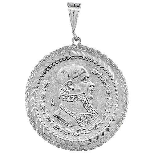 Revoni-Collana in argento Sterling da messicano, 1 disco, 34 mm, Peso argento con ciondolo a forma di moneta, lunetta con bordo a corda, monete non sono