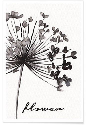 JUNIQE® Poster 20x30cm Schwarz & Weiß Blumen - Design